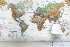 White and Natural Colour World Map Mural