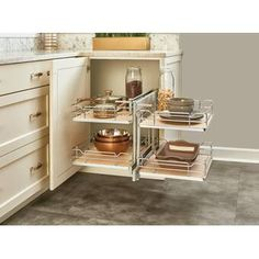 Rev-A-Shelf Maple Series 18 Inch Two Tier Pull Out Corner Base Cabinet Organizer with Four Shelves and Soft-Close Slides Kitchen Cabinet Pulls, Kitchen Cabinet Organization, Kitchen Cabinets, Corner Cabinets, Cabinet Ideas, Kitchen Storage, Kitchen Pantry, Cabinet Organizers, Kitchen Redo