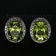 pretty!oval 6x8mm studs peridot earrings,natural diamond peridot engagement earrings in solid 14kt yellow gold