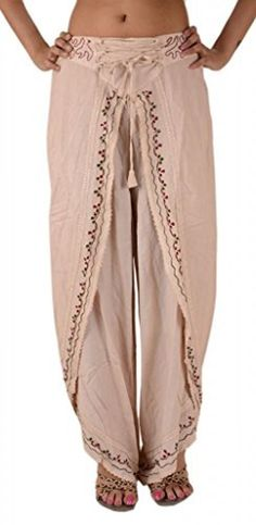 Amazon.com: Skirts N Scarves Women's Rayon Embroidered Aladdin Pant/Pajama (Cream): Clothing