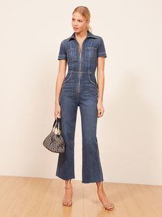 ba55ddd885f The Georgia Jumpsuit is part of the Reformation Jeans collection. This is a  slightly cropped