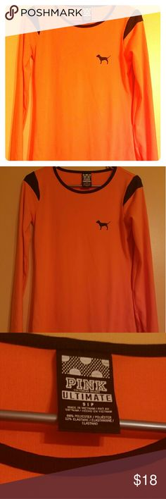 Women's VS Pink Ultimate long sleeve -Orange and black long sleeve tee -Victoria's secret pink ultimate  -Size small -88% polyester -Worn one time -Perfect condition -Thumb holes in the sleeves Victoria's Secret Tops Tees - Long Sleeve