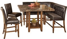 Ashley Lacey Square Dining Room Counter Table With Barstools And Benches