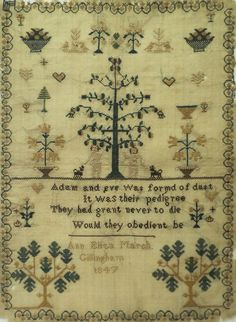 EARLY 19TH CENTURY ADAM & EVE SAMPLER BY ANN ELIZA MARSH - 1847
