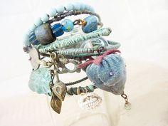 Liquid Light 3. Blue Green Rustic Gypsy Bangle Stack bracelet set.