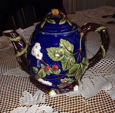 Majolica China Pottery Strawberry Blossom Tea Pot with Lid Maker Mark Beautiful | eBay