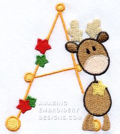 This free embroidery design is from Amazing Embroidery Designs Christmas Alphabet.  It's the letter A.