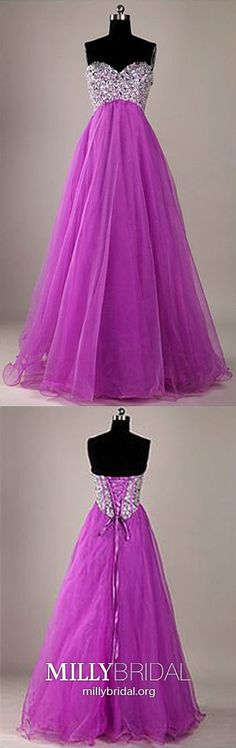 Long Prom Dresses Princess, Fuchsia Formal Evening Dresses Sweetheart, Crystal Wedding Party Dresses Sequin, Organza Pageant Graduation Party Dresses Empire #MillyBridal #fuchsiadresses #princessdresses #straplessdresses Cheap Pageant Dresses, Beauty Pageant Dresses, Elegant Homecoming Dresses, Princess Prom Dresses, Sequin Prom Dresses, Party Dresses, Prom Gowns, Affordable Evening Gowns, Glamorous Evening Dresses