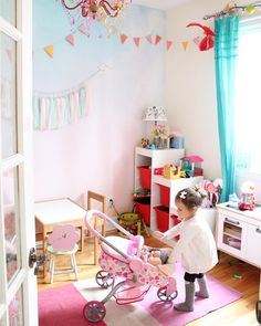 Perfect playroom! Pastel wall mural with ombre effect from Pixers styled by @LazyMoms https://www.instagram.com/p/BTh8XIKg8ya/?taken-by=lazymoms