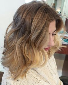 Wavy long Bob Balayage wob lob gorgeous color melt soft face framing babylights highlights L'Anza healing Haircare and Haircolor behind the chair pics aline haircut shoulder length haircut midlength textured undercut