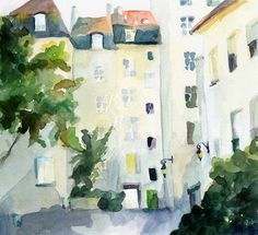 Watercolor painting of the Village St. Paul in the Marais neighborhood of Paris, France.