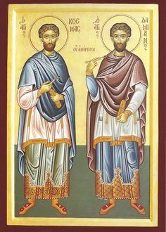 Damian - September 26 Twin Drs who refused payment for their services. They brought back to health the bodies AND souls of those who went to them in need by giving their services and teaching the Word of Jesus. Catholic Saints, Patron Saints, Saint Feast Days, Words Of Jesus, Orthodox Icons, Christ, Religion, Prayers, Pilgrims