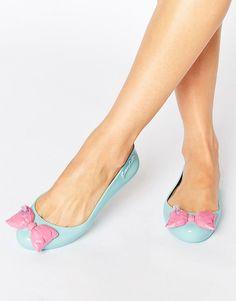 Melissa + Jeremy Scott Space Love Peppermint Contrast Bow Flat Shoes