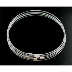 1τεμ Λαιμαριά απο Ατσάλινο Σύρμα Silver 1mm-45cm  http://www.nikollabeads.com/