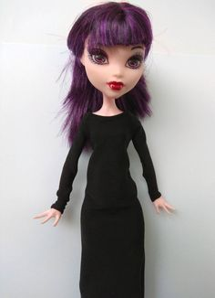 Black dress to the calf with long New Year Holidays, Christmas And New Year, Monster High Doll Clothes, Body Size, Custom Dolls, Ever After, Barbie Dolls, Dress Black, All Things