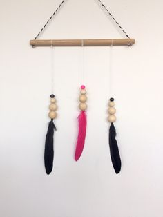 Wall Hangings, Kids Rooms, Girl Room, Feather, My Etsy Shop, Beads, Girls, Pink, Beading