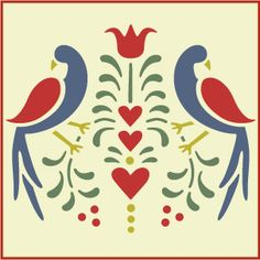 Folk Art Birds 1 Stencil- Distlefink - Fraktur- The Artful . Bird Stencil, Damask Stencil, Stencil Art, Rose Stencil, Rosemaling Pattern, Stencils, German Folk, Scandinavian Folk Art, Folk Embroidery