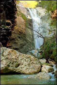 This photo from Lefkada, Ionian Islands is titled 'Dimosari waterfalls'. Places In Greece, Greece Islands, Island Beach, Greece Travel, Waterfall, Places To Visit, Around The Worlds, Vacation, Pictures