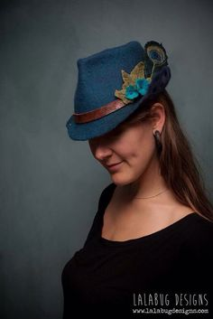 Fairy fedora merino wool felt hat by Lalabug Designs