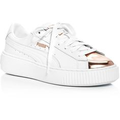 Puma Womens Basket Lace Up Platform Sneakers (38 BHD) ❤ liked on Polyvore featuring shoes, sneakers, white leather shoes, puma shoes, white leather sneakers, white sneakers and white lace up sneakers