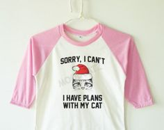 Funny Christmas tee Sorry, I can't I have plans with my cat shirt baby shirt kids baseball long sleeve kids shirt toddler shirt youth shirt