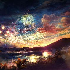 Papers.co wallpapers - ah44-firework-dark-night-anime-art-illust - http://papers.co/ah44-firework-dark-night-anime-art-illust/ - illustration