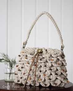 Crocodile Stitch Drawstring Purse By Joann.L - Free Crochet Pattern - (craftpassion)