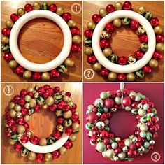 Easy DIY Ornament Wreath For Christmas christmas christmas ornaments christmas crafts christmas decorations christmas decor christmas wreaths christmas tutorialsornament DIY Christmas Wreaths to Get You in the Holiday How to make a Christmas Charm DI Christmas Ornament Wreath, Christmas Wreaths To Make, Noel Christmas, Holiday Wreaths, Christmas Projects, Simple Christmas, Bauble Wreath, Holiday Gifts, Country Christmas