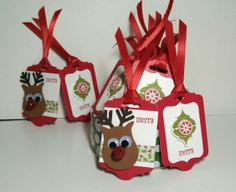 Reindeer and ornament gift tags; made by Jeanie Tavitas-Williams. #stampinup