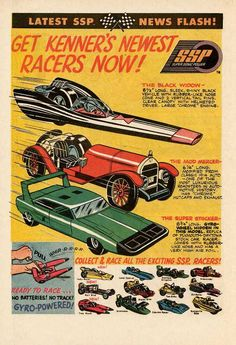 Kenner's SSP Ripcord Racers - The Super Stocker - Replica of the Plymouth - Dodge Road Runner Superbird - Charger Daytona. Vintage Toys 1960s, 1970s Toys, Retro Toys, Vintage Ads, Vintage Posters, My Childhood Memories, Childhood Toys, Model Cars Kits, Old Ads