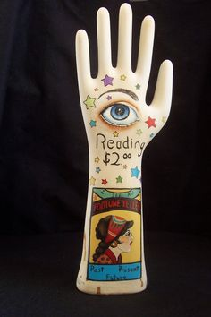 Vintage Gypsy Art | Hand Painted Folk Art Vintage Glove Mold Form Gypsy Fortune Teller ...