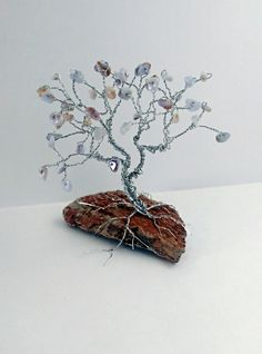 Blue Chalcedony Tree of Life Wire Tree Sculpture / Semi Precious Gems on Black Hills Rock Base / Silver Wire by Spirit Gem Designs