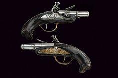 A pair of small travelling flintlock pistols, Italy, 18th century.