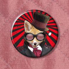 Steampunk Fox Admiral Fox  Pinback Button Badge   225 by PinPandas, $2.50