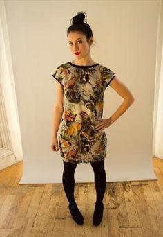 Digital print silk bird shift dress from Iamia