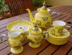 Hand painted SOLEIL D'OR Tea set 22 pieces by NiniViolette on Etsy, $350.00