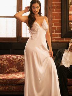 1e87c37aea0 Plus Size Lace Trim Long Satin Gown