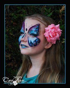 Butterfly face paint, Vlinder Schminken.