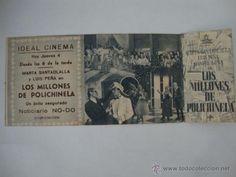 ANTIGUO FOLLETO DE MANO DOBLE LOS MILLONES DE POLICHINELA. AÑOS 40/50 ELCHE IDEAL CINEMA.