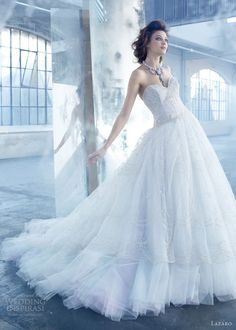 lazaro wedding dresses spring 2013 tulle ball gown hand embroidered overlay sweetheart lz3320