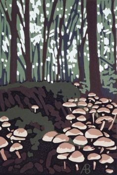 Stoke Wood Mushrooms, Linocut by Alexandra Buckle | Artfinder