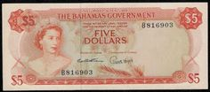 """Currency of The Bahamas - 5 Bahamian Dollars banknote of 1965 """"Currency Note Act"""" Issue, Queen Elizabeth.  Obverse: One of the more beautiful portraits of Her Majesty Queen Elizabeth II, wearing the George IV State Diadem and the necklace that was a wedding gift from the Nizam of Hyderabad and Berar. Reverse: Bahamas Government House in Nassau and Christopher Columbus Statue located at the foot of Government house. Printed by Thomas De La Rue currency note printers in England."""