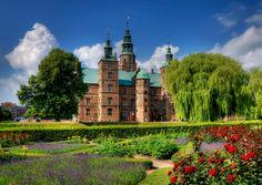 Rosenborg Castle Gardens, Kongens Have at Rosenborg Slot on a beautiful summer day in Copenhagen, Denmark.