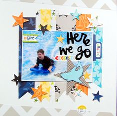 Here We Go - Scrapbook.com  A fun boy layout using the new Max line from Bella Blvd