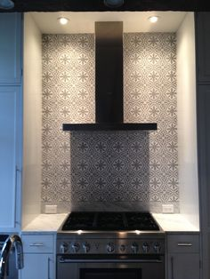 Backsplash done! Moroccan cement tile from Mosaic House in NYC. Design by Stephanie Kim of Sorensun, Brooklyn NY.