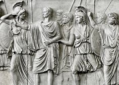 Section of theAncientRomanCancelleria Reliefs,a set of two incomplete bas-reliefs, believed to have been commissioned by the Roman Emperor Domitian (81 AD – 96 AD), depicting the life and events of the Emperor.