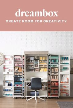 The DreamBox Create room for creativity! Craft Room Storage, Craft Storage Ideas For Small Spaces, Small Craft Rooms, Room Organization, Organizing Life, Paper Storage, Craft Room Design, Home Room Design, Design Crafts