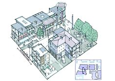Axonometric section of 'High Street' character zone, extract from; Matrix Partnership (2005) Newbiggin Hall Neighbourhood Centre. Report for Newcastle City Council.