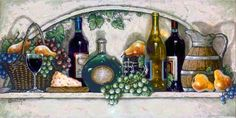 Wine, Fruit 'n Cheese Pantry, a new giclee , personally enhanced and by artist Janet Kruskamp showing a white tile counter laden with grapes...