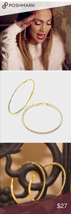 """3"""" Wide gold hoop rhinestones Sparkling Earrings They have a very special brilliance and sparkling to them which makes a great statement piece. Farah Jewelry Jewelry Earrings"""